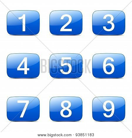 Numbers Counting Square Vector Blue Icon Design Set