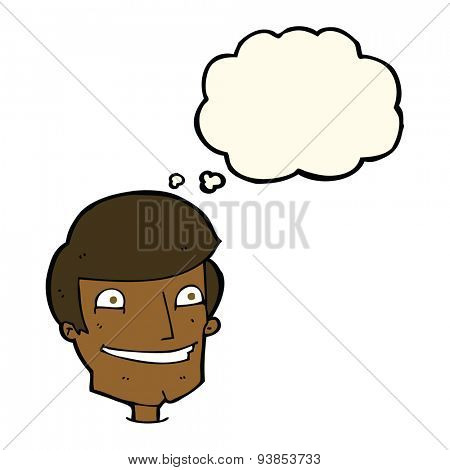 cartoon grinning man with thought bubble poster