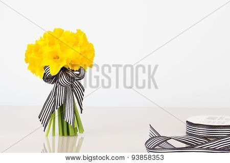 Daffodil Bouquet With Ribbon