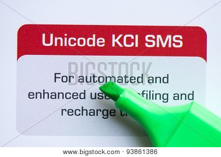unicode kci sms with marker on the white background poster