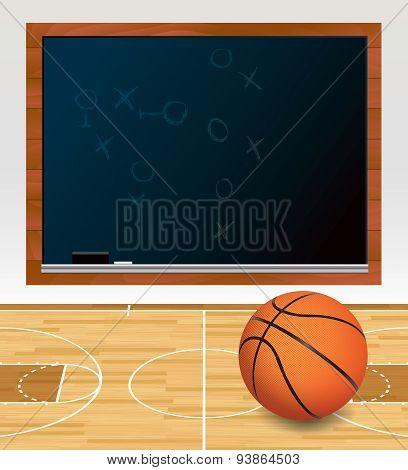 Basketball Chalkboard On Court Illustration