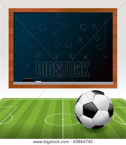 Soccer Ball On Field With Chalkboard Illustration
