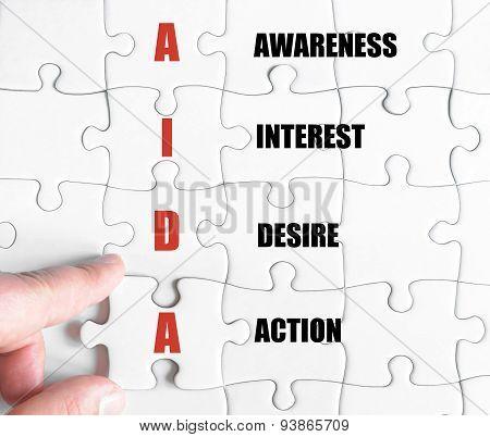 Last Puzzle Piece With Business Acronym Aida
