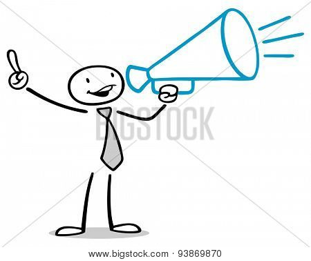 Business man with megaphone making an announcement