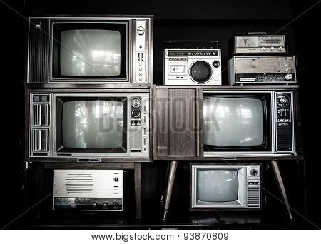 vintage style television and radio