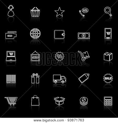 E-commerce Line Icons With Reflect On Black
