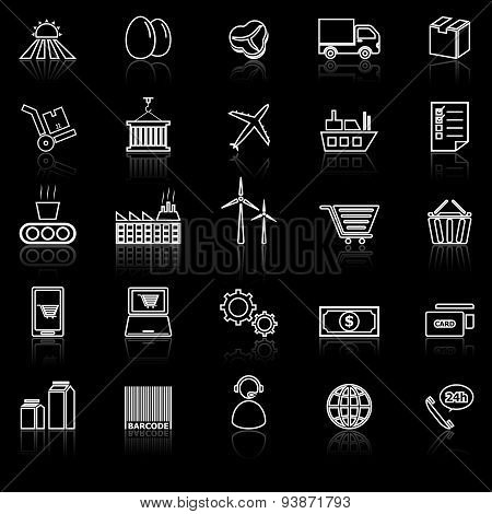 Supply Chain Line Icons With Reflect On Black