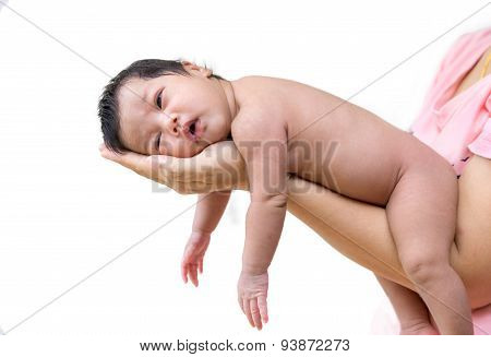 Newborn Baby Sleep On The Hand Of Mother