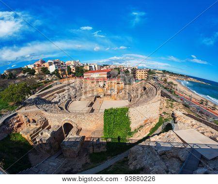 Tarragona, Spain With Sea And Old Roman Theater