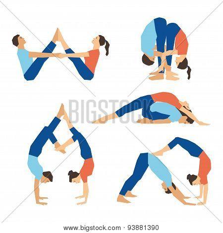Set of yoga asanas for couple yoga on a white backdrop.