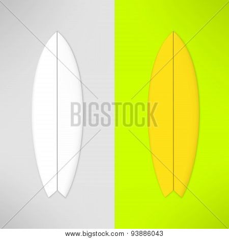 Vector surfboard in realistic design. Photorealistic surfing board