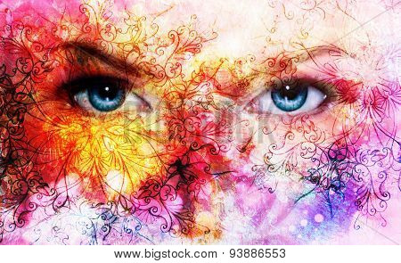 Beautiful Blue Women Eyes, Color Effect, Painting Collage, Violet Makeup And Ornaments. .