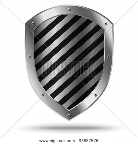 Classic Silver Shield. Protection Sign.