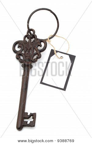 Antique Key With Blank Card