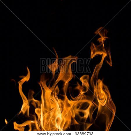 Bright Red and Orange Real Fire Texture on Black Background