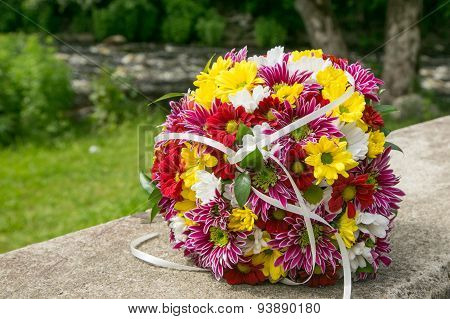 Bridal Bouquet With Chrysanthemums