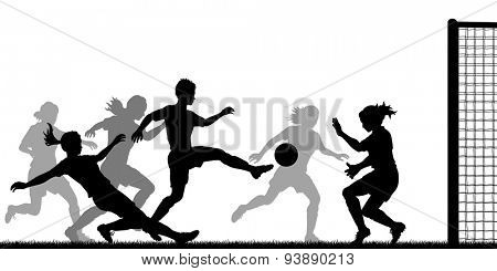 EPS8 editable vector silhouette of action in a ladies football match with all figures as separate objects