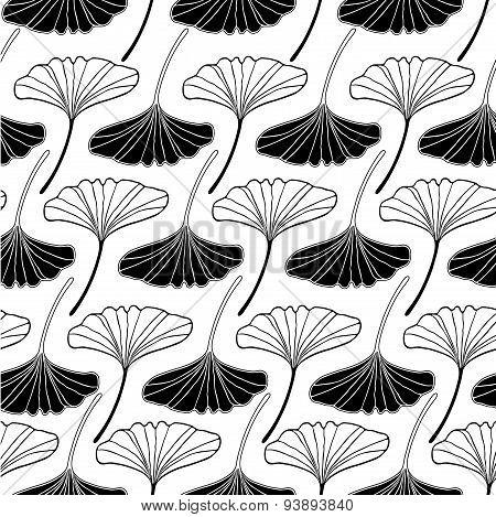 Gingko Leaf Sketch Doodle Set 2 Pattern Seamless