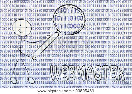 Man Inspecting Binary Code, Webmaster Jobs