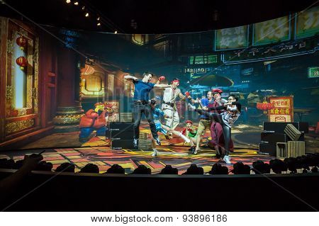 LOS ANGELES - June 17: Street Fighter photo op with bullet time rig E3 2015 expo. Electronic Entertainment Expo, commonly known as E3, is an annual trade fair for the video game industry