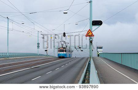 Tram going on a bridge, transport system in Gotenburg, Sweden