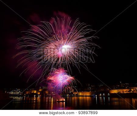 Colorful fireworks close explode in Malta in dark sky,Malta fireworks festival, 4 July, Independence