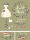 Bridal shower invitation set.Wedding dress and bridal accessories  with floral wreath, hand writing text, ribbon.Dress put on mannequin.Wedding invitation, save the date card, thank you card.Cute vintage Vector poster