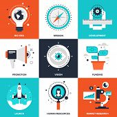 Vector set of flat startup and new business icons on following themes - big idea, mission, development, promotion, vision, funding, launch, human resources, market research. poster