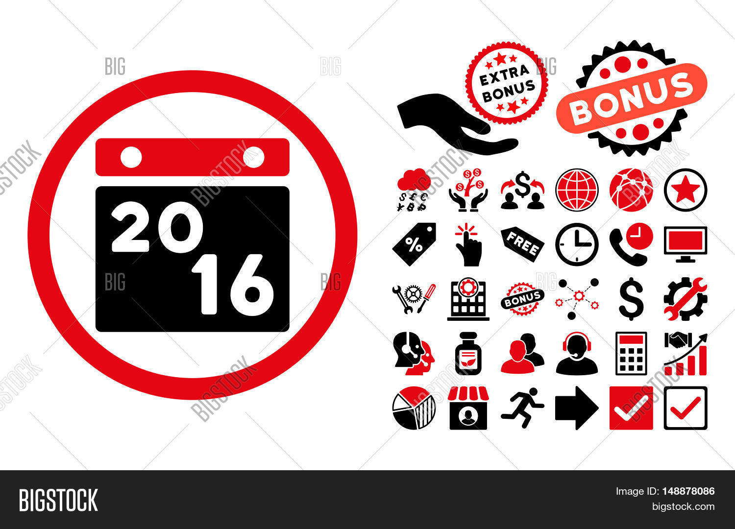 2016 Calendar icon with bonus pictograph collection. Glyph illustration style is flat iconic bicolor symbols, intensive red and black colors, white background.