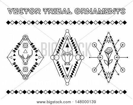 Tribal vector elements. Ethnic collection of geometric emblems with animals and rose isolated on white background