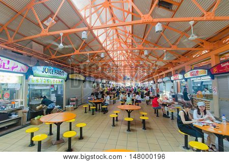 singapore, singapore - September 20, 2014: Maxwell food center is The Maxwell Road Hawker Food Centre is well known for its affordable, tasty and huge variety of local hawker food.