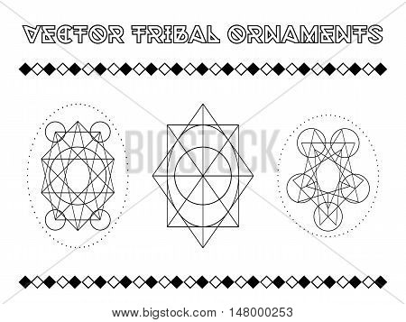 Tribal vector elements. Ethnic collection of geometric emblems in aztec stile isolated on white background