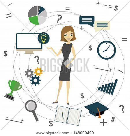 Business idea concept business woman and business objects vector illustration