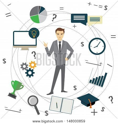 Business idea concept businessman and business objects vector illustration