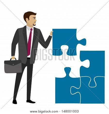 Business concept with piece of the puzzle. Vector illustration