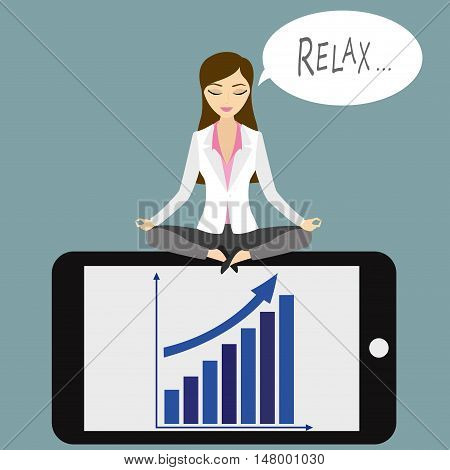 business woman in lotus position sitting on smart phonefinance idea concept vector illustration