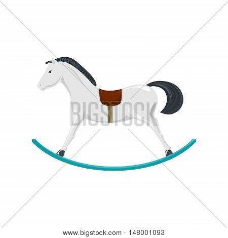 Rocking Horse Isolated on White Background, Merry Christmas and Happy New Year, Christmas Decorations, Vector Illustration