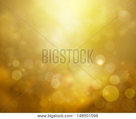 Yellow lights background fantasy bokeh on white