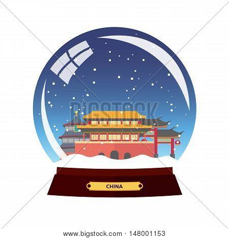 Snow Globe City. China, Beijing In Snow Globe. Winter Travel Vector Illustration