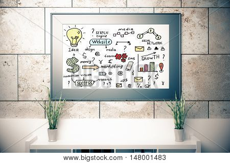 Rectangular picture frame with business sketching hanging on concrete tile wall above document shelf with two decorative plants. 3D Rendering