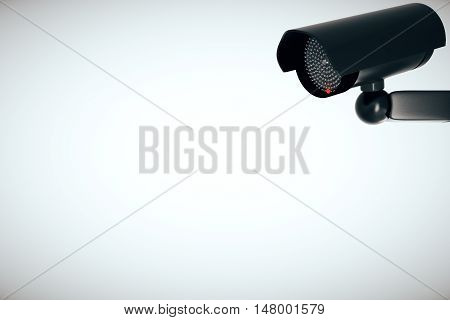 CCTV security camera on light background with copy space. 3D Rendering