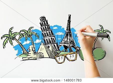 people, travel, tourism, summer vacation and graphic arts concept - close up of hand with marker drawing drawing touristic landmarks sketch on white board or paper