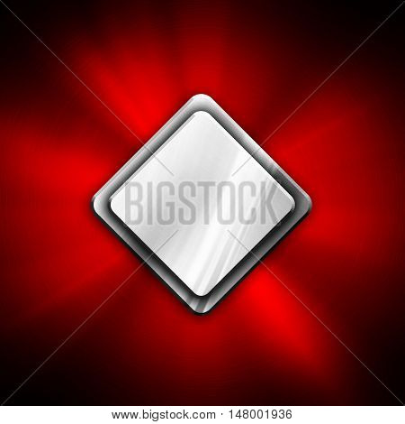 rhombus on red metal background