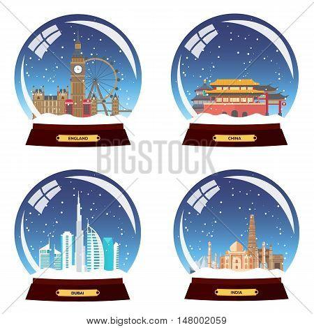 Set Snow Globe City. England, China, Dubai And India In Snow Globe. Winter Travel Vector Illustratio