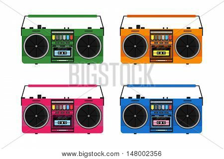 Flat vintage tape recorders set for audio cassettes. Music boombox. Modern trendy design for music concept.