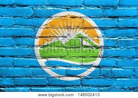Flag Of Provo, Utah, Usa, Painted On Brick Wall