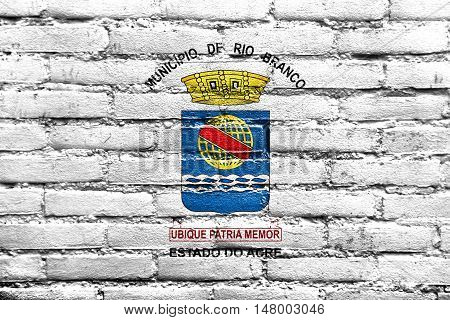 Flag Of Rio Branco, Acre, Brazil, Painted On Brick Wall