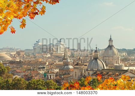 skyline of Rome city at fall day, Italy