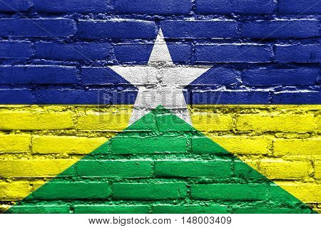 Flag Of Rondonia State, Brazil, Painted On Brick Wall