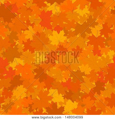 Autumn Seamless Background, Fallen Yellow and Orange Maple Leaves, Vector Illustration